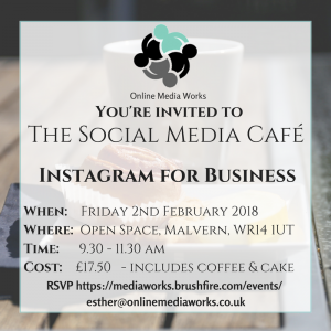 You're invited to The Social Media Cafe!  Boost your business with Instagram!