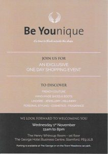 BE YOUnique at The George Hotel, Stamford, Lincs