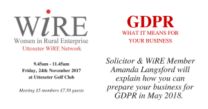 GDPR & What it Means for Your Business – Uttoxeter WiRE November Meeting